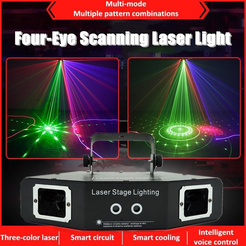 أربعة عيون مروحة نمط ضوء الليزر RGB 3 ألوان 4 حفرة شعاع خط نمط مزيج ل DJ ديسكو شريط الحفلات العارض ضوء المرحلة