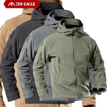 Army Tactical Windproof Winter Airsoft Thermal Fleece Clothes men Pilot Hood Coat Military Field bom