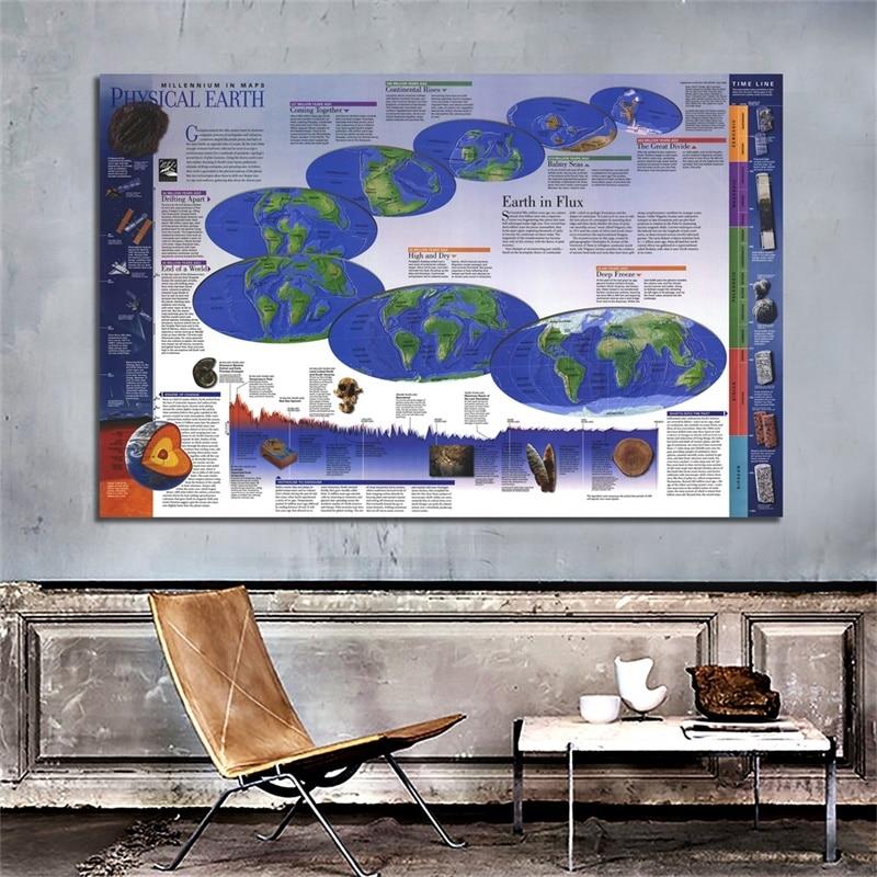 Mapa del mundo 225*150cm oficina en casa mapa del mundo 1998 pegatinas de pared carteles e impresiones para negocios hogar o uso educativo