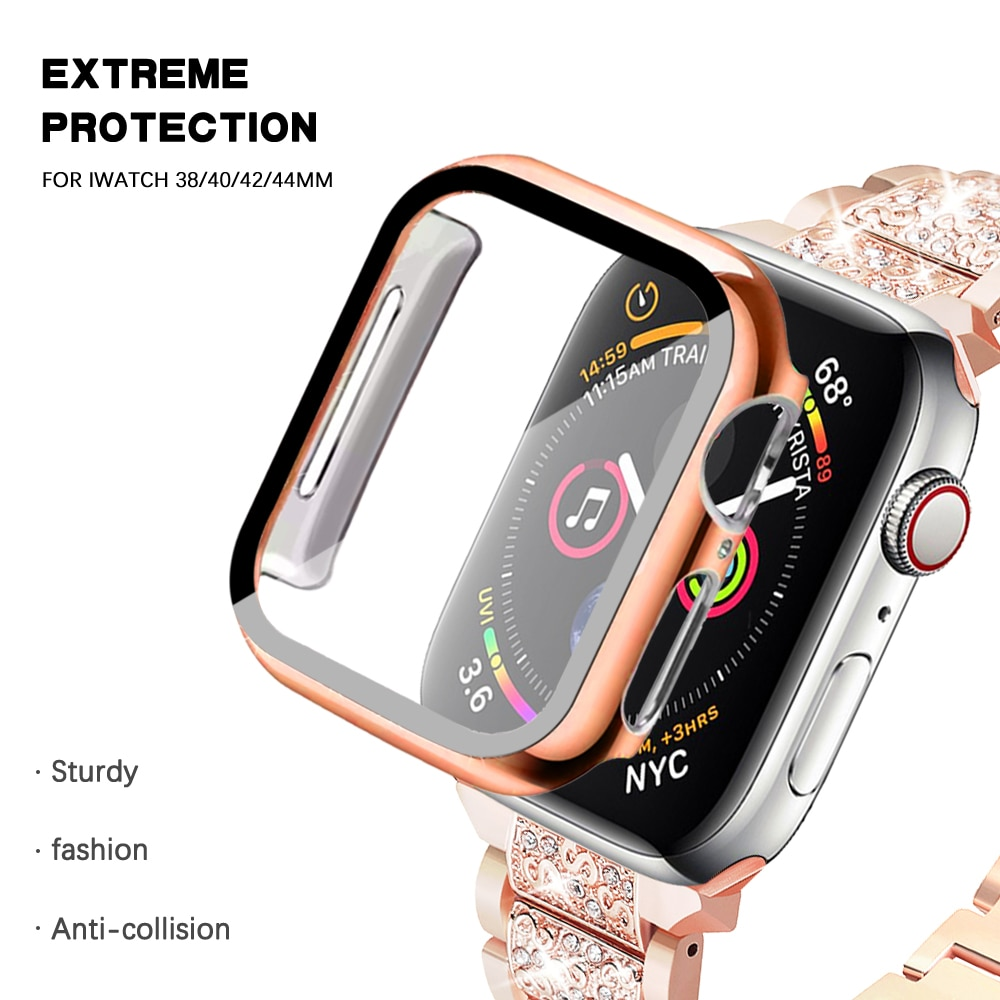 screen protector case for apple watch 5 case with glass cover for apple watch series 5 4 44mm 42mm iwatch 3 2 1 42mm protector Full cover for Apple Watch series 6 SE 5 4 3 2 1 bumper hard case with glass film for iWatch screen protector 38mm40mm 42mm 44mm