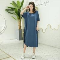 modal nightgowns women short sleeve summer mid calf loose nightwear sleepwear womens night dress new homewear