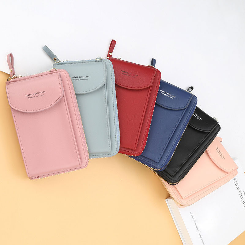 Mulheres telefone longo carteira coreano moda plutônio couro titular do cartão moeda bolsa senhoras mini nota embreagem carteira meninas crossbody saco p004