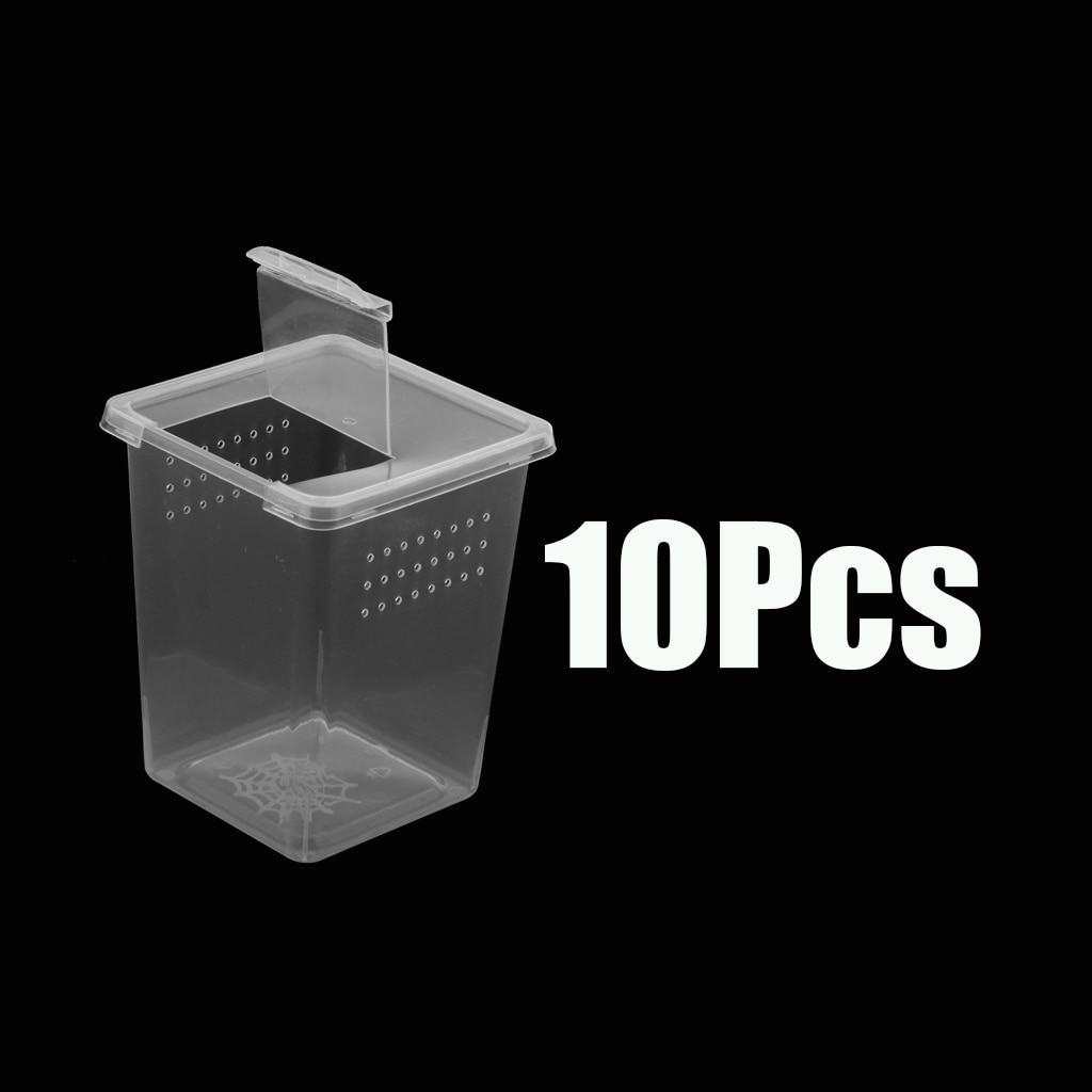 10x Clear Plastic Insect Habitat Feeding Box Case Container Tank 8x8x11cm