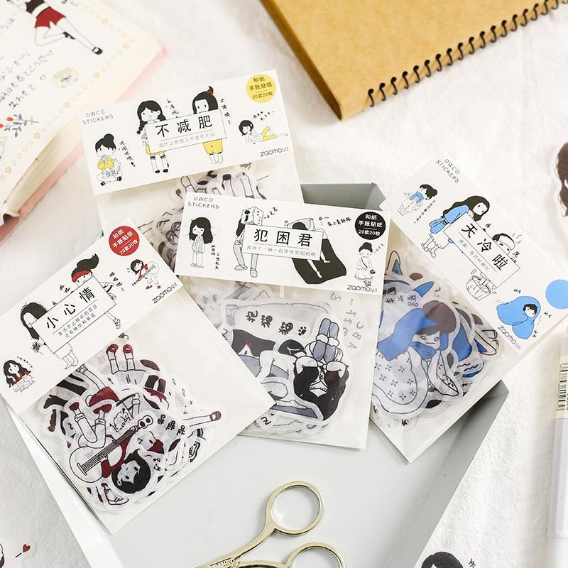 Sal persona pequeña decoración adhesivo pegatinas linda chica de dibujos animados pegatinas pegatina de diario Scrapbook papelería coreana