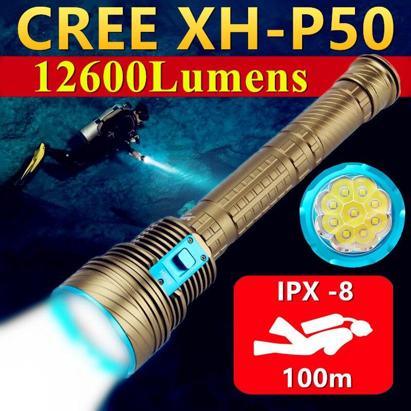 9 * XHP50 عالية الطاقة تحت الماء 100 متر IPX-8 مقاوم للماء الغوص ملء ضوء الغوص LED مصباح يدوي قوي المهنية الغوص