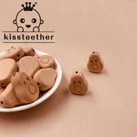 kissteether 100pcs beech wooden gourd animal beads diy teething nursing mom necklace food grade wood bead jewelry making teether