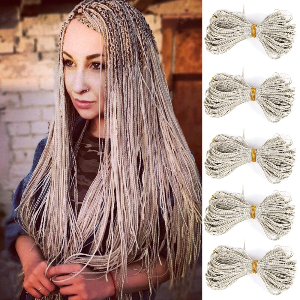 Zizi Box Braids Synthetic Thin Box Crochet Braids Eunice Hair Colorful Zizi Braiding Hair Extensions Black 613 Brown Hair
