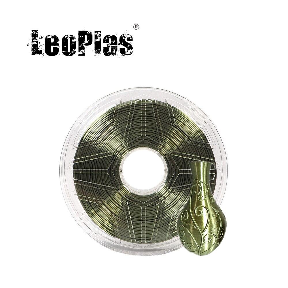 LeoPlas-خيوط من الحرير PLA للطابعة ثلاثية الأبعاد ، 1 كجم ، 1.75 مللي متر ، لون أخضر عسكري ، مادة بلاستيكية ، توريد طباعة استهلاكية