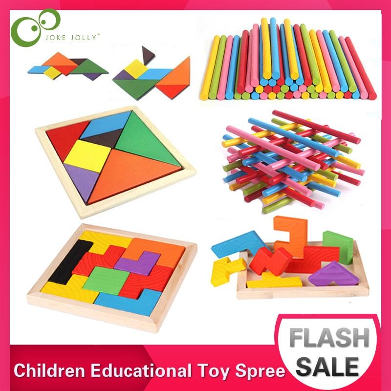 1Set Children Education Toys Spree Counting Sticks Tetris Tangram Toys Mathematics Montessori Kids Math Puzzle Learning Gift ZXH