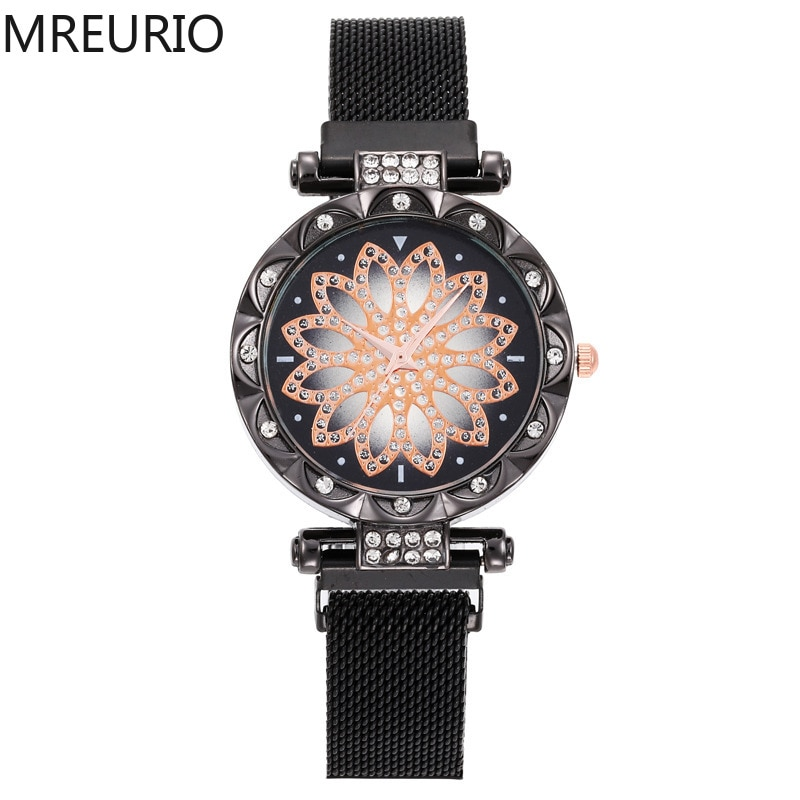MREURIO Women's Watch Delicate Luxury Watch Fashion Lucky Starry Sky Diamond-Studded Magnet Band Lazy Quartz Watch for Ladies enlarge