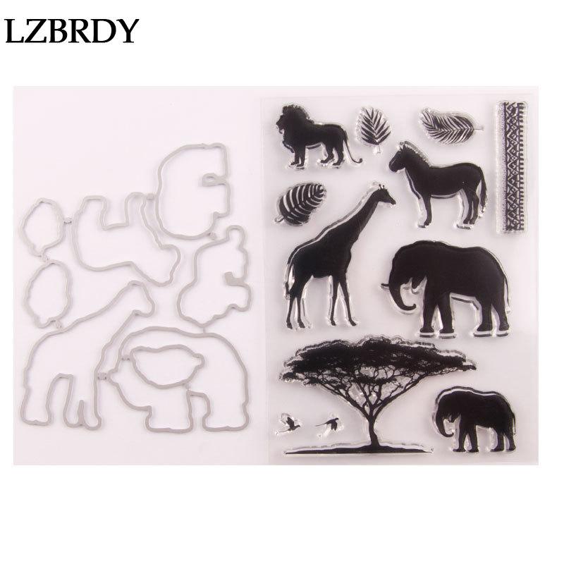 1 paquete de animales lindo ciervo elefante caballo León sellos de goma transparente y troqueles para tarjetas de Scrapbooking que hacen decores de Navidad