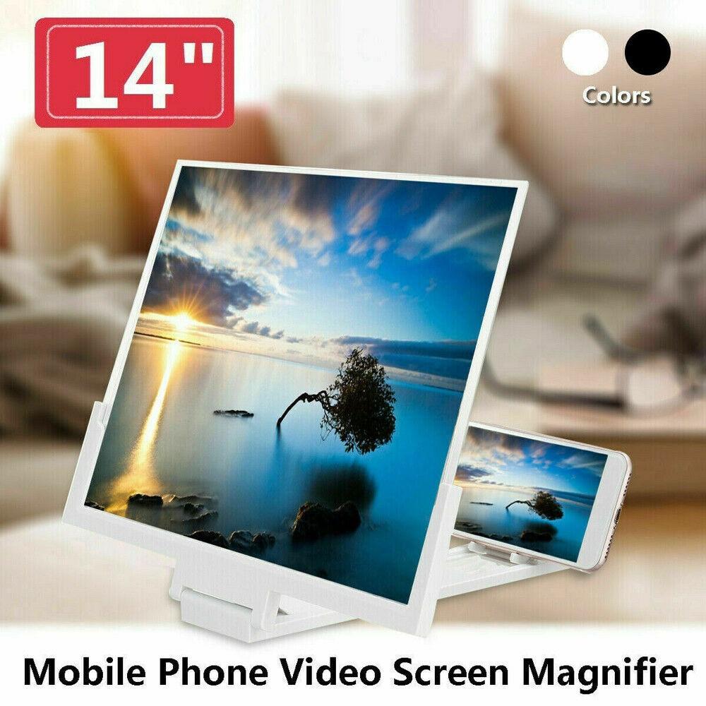 Lupa de pantalla para teléfono inteligente de 14 pulgadas, vídeo 3D, soporte de amplificador de Teléfono móvil, Compatible con cualquier modelo de teléfono o tableta