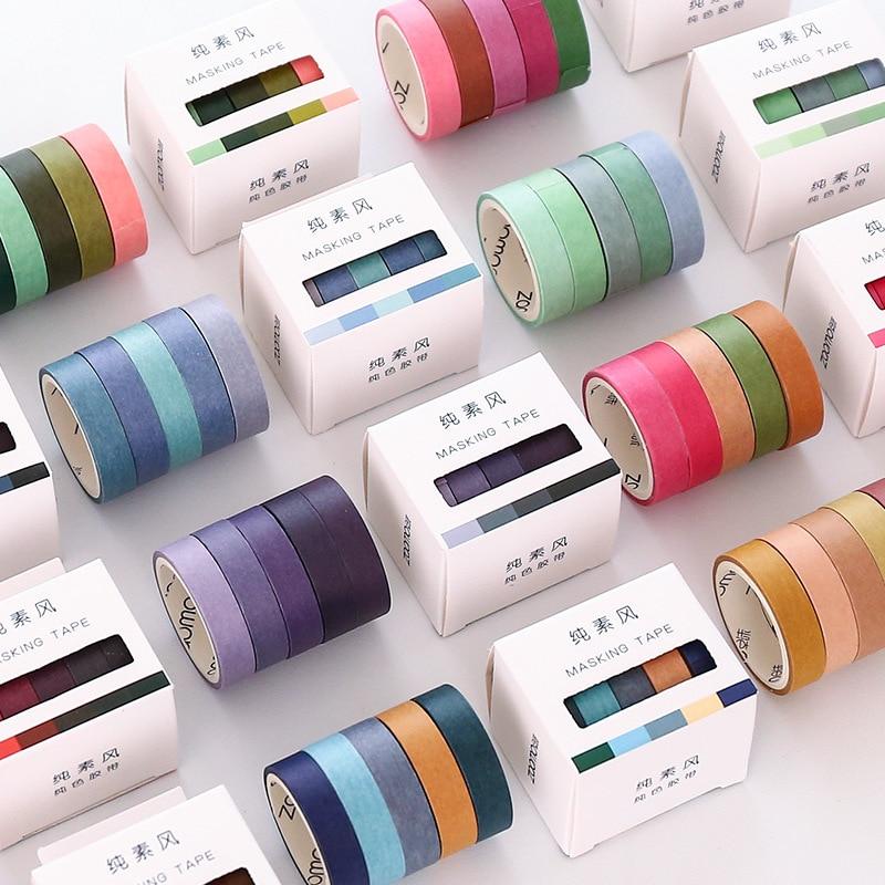 Retro de Color sólido conjunto de cintas Washi chica diario de cuenta manual limita decoración diseño de los estudiantes de la literatura y el arte de papel adhesivo