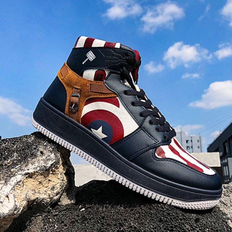 Lindas zapatillas de deporte de superhéroe Capitán América, zapatos de lona para hombres, mujeres, adolescentes, zapatillas de deporte informales para estudiantes