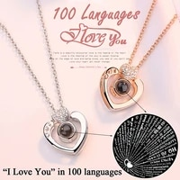 dropshipping wome rose gold 100 languages i love you projection pendant necklace romantic love memory wedding necklace
