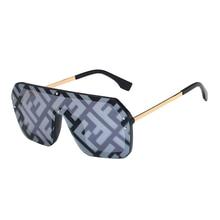 NEW Oversized FF letter Sunglasses 2021 Women Luxury Brand Fashion Flat Top One Piece Sun Glasses Me