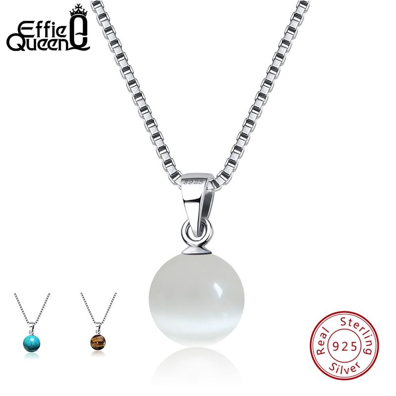 Collares y colgantes de Plata de Ley 925 auténtica efie Queen, colgante de turquesas con piedra Natural, collar para mujer, joyería de fiesta BN87