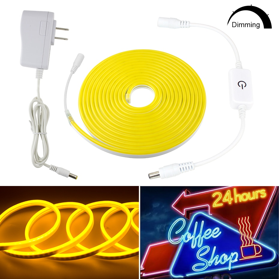Regulable de la UE/US Plug DC12V LED neón cuerda cortado 1m/2m/3m/4m/5m de longitud única de neón de Color LED de luz de tira de luz
