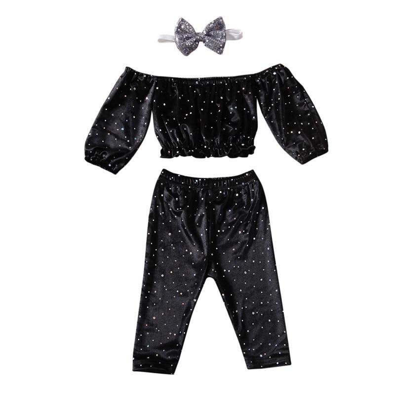 Bebê da criança meninas crianças glitter roupas fora do ombro de veludo manga longa regatas + calças + headwear 3pc algodão outfit