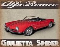 alfa romeo giulietta spider classic car metal tin sign poster wall plaque retro metal art poster