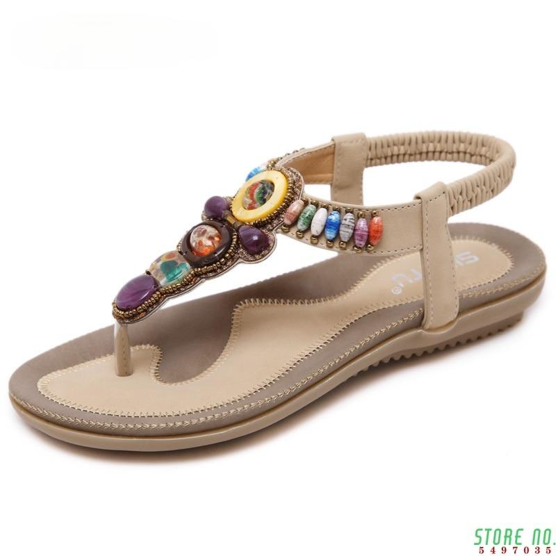 Bohemian Summer Women Sandals Big Size 44 45 Women Shoes 2021 Flip Flops Women Flat Sandals Beach Sandals Ladies Sandals