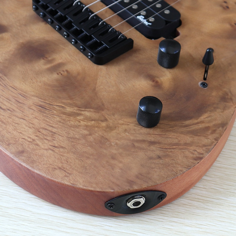 8 Strings Tree Burl Top Electric Guitar 39 Inch Brown Solid Okoume Wood Body Matte Finish 24 Frets 5 Pcs Maple Wood Combine Neck enlarge