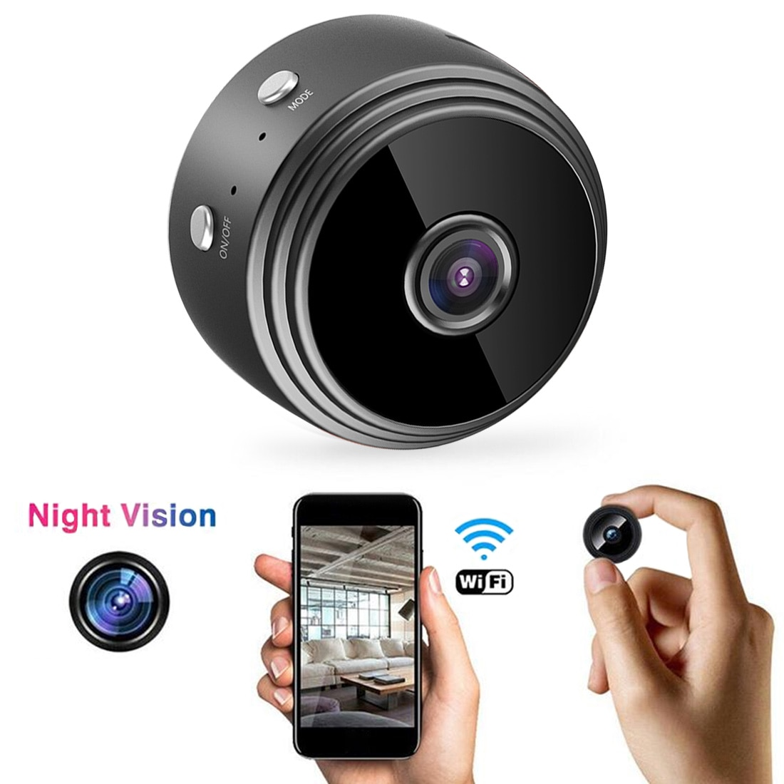 a9 camera wifi home security 1080p camera 4k hd security outdoor sports hd night vision 1080p aerial motion dv Home Security Camera 1080P A9 Mini WIFI Camera Wireless Camera HD Sensor Night Vision Camcorder Motion Sport DV Video  P2P Cam