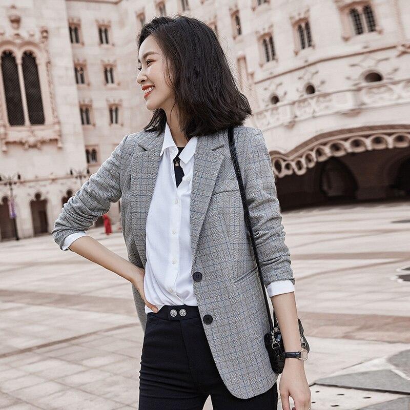 Women Elegant Plaid Blazer Long Sleeve Double Breasted Slim Check Coat Office Work Lattice Suit Jacket Houndstooth Outerwear