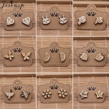 Jisensp Vintage Elegant Wood Stud Earrings for Women Kids Bohemian Geometric Flower Fish Star Butter