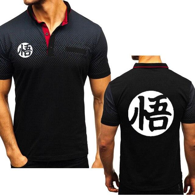 Camiseta casual de manga corta de algodón con cuello redondo con gradiente Y estampado de Dragon Ball Z Goku para hombre
