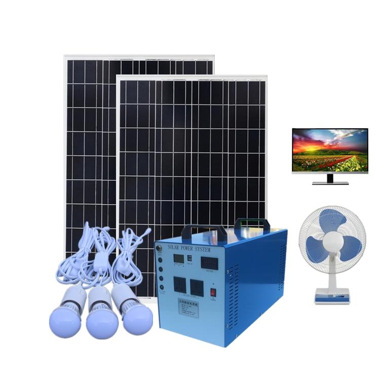 Farm household portable solar generator complete set of battery panel kit use lighting 12V LCD TV phone charging Bread machine