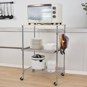 【US Warehouse】3-Tier Wire Rolling Kitchen Cart for Kitchen Office Hotel(Kitchen shelf cart)