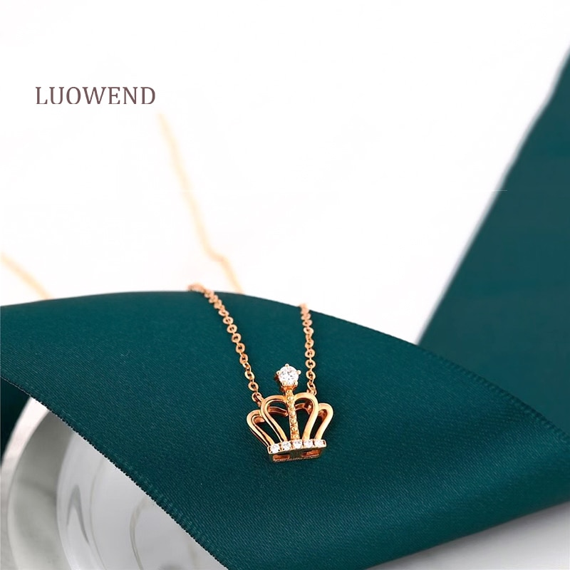 LUOWEND 18K Solid Yellow Gold Pendant Necklace Natural Diamond Fine Jewelry Women...