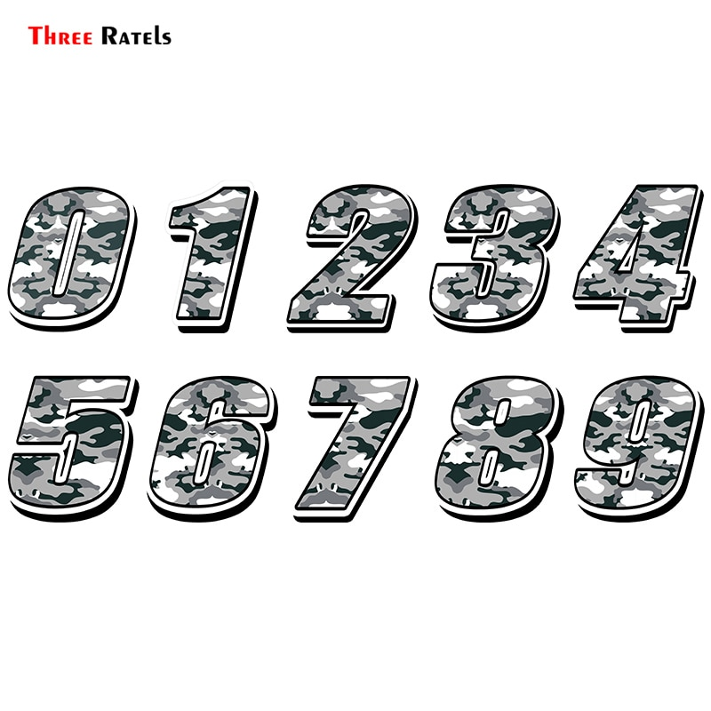 Three Ratels FTC-872 # estilo de coche de carreras número pegatina de camuflaje Motocross Auto pegatinas moto impermeable calcomanías
