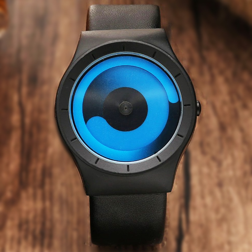 Unique Design Turntable Minimalist Creative Watch Novel Stylish Geek Sports Quartz Wrist Watch For Men Women Relogio Masculino