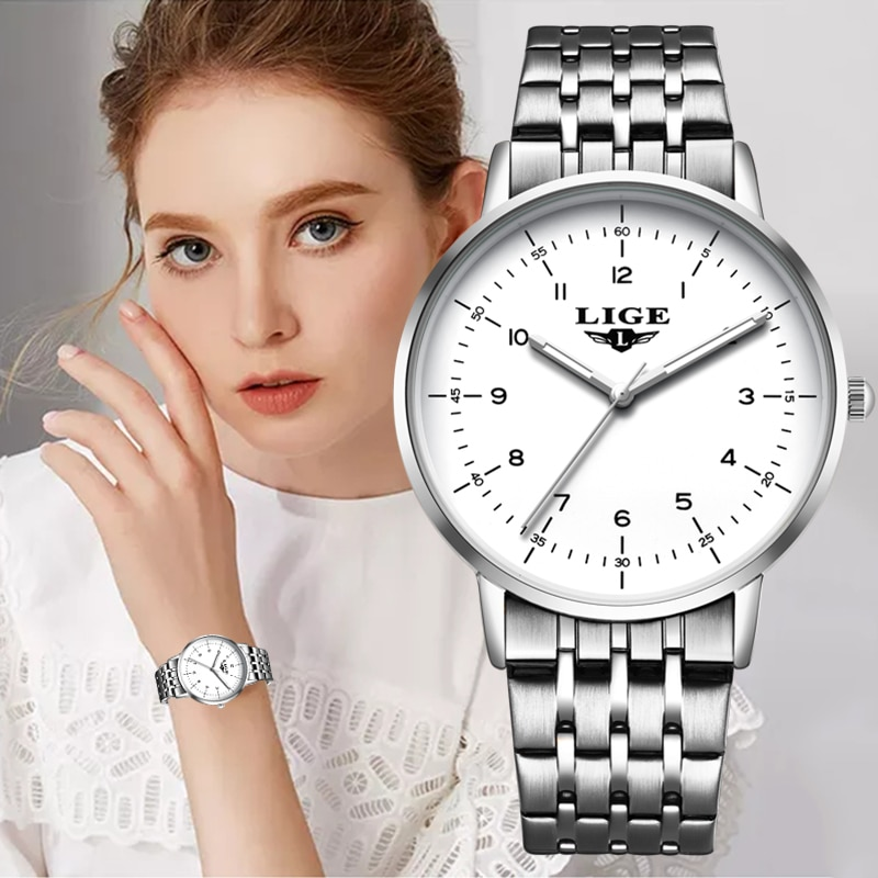 Montre Femme LIGE Luxury Women Watches Fashion Full Steel Bracelet Ladies Wrist Watches For Women Silver Reloj Mujer Girl Gifts