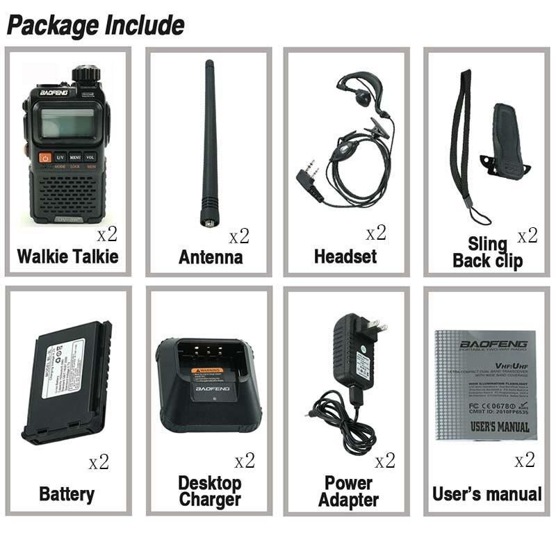 2pcs Baofeng UV-3R+ Plus Mini Walkie Talkie Portable UHF VHF Two Way Radio Comunicador Uv 3r Hf Transceiver radiotelefon radios enlarge