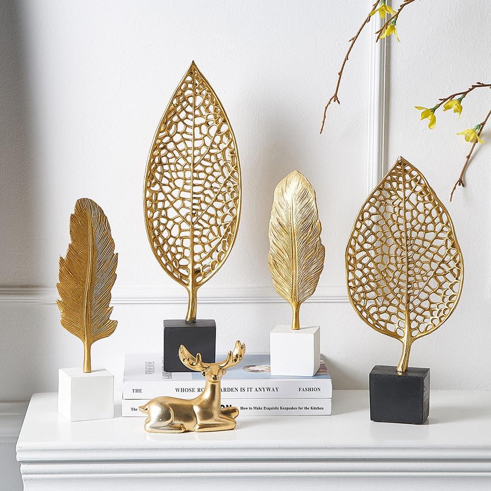 Europen, modelo de escultura de hoja, artesanía de resina, decoración vintage para el hogar, estatua abstracta moderna Vintage, decoración de escritorio de oficina, adornos de regalo