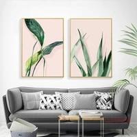 Peinture sur toile moderne minimaliste avec plante verte  decoration de la maison  affiche nordique  images dart murales de salon