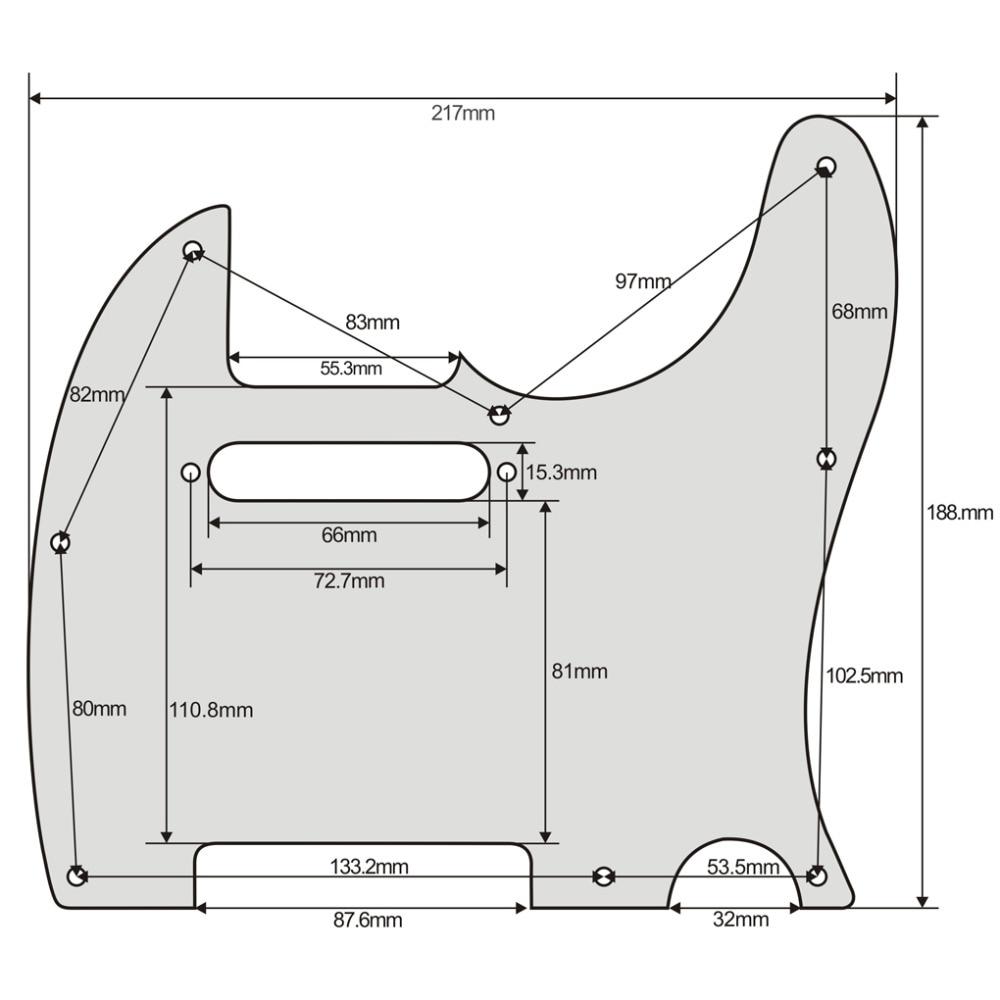 1pcs black (maple wood) Tele Style Guitar Pickguard 3 Ply for Telecaster enlarge