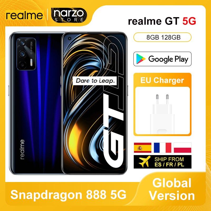 Перейти на Алиэкспресс и купить Realme GT 5G смартфон глобальная Версия 8 ГБ 128 Snapdragon 888 5G 6,43 дюймов 120 Гц активно-матричные осид, Экран 64MP Камера 65W зарядное устройство NFC