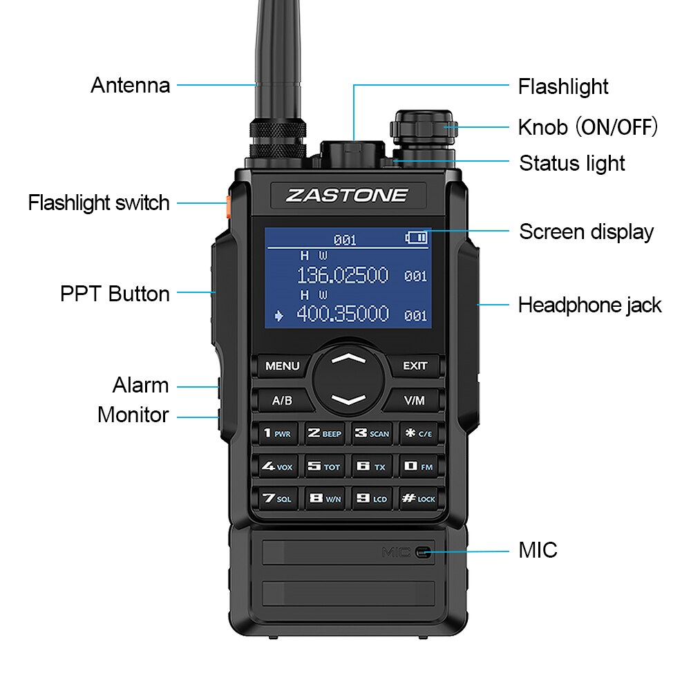 dual band 5W walkie talkie 136-174 400-480mhz 250 channels 2600mah battery hf transceiver ham radio enlarge