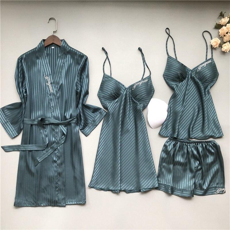 Bordado carta traje mujeres Sexy Stripe novia dama de honor Albornoz de la boda Set de Kimono vestido 2020 nueva Lencería íntima suelta