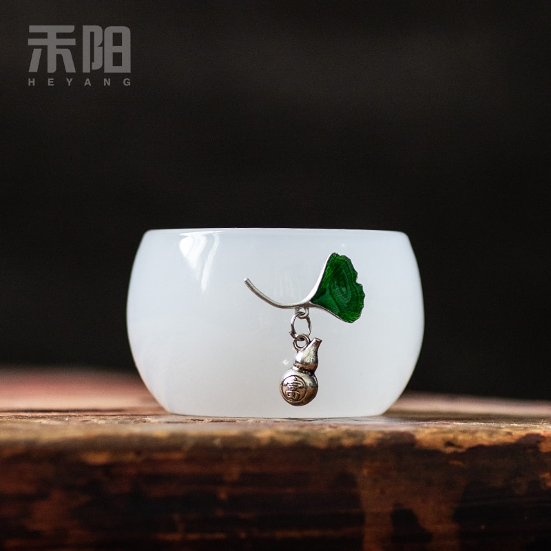 Tazas de té de cristal de porcelana de Jade juego de té de cristal maestro de té de porcelana blanca tazas de hogar de lujo