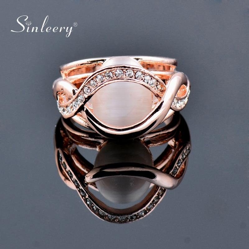 SINLEERY, anillos de compromiso de lujo redondos de ópalo sólido, Color oro rosa, joyería para fiesta y boda para mujer, tamaño 6 7 8 9 Jz484 SSI