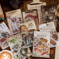 40pcspack vintage coffee plant handcrafted photo album labels planner stickers diary decorate stationery stickers