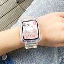 Correa transparente de silicona suave + funda para apple Watch, banda de 38mm, 40mm, 42mm, 44mm, adaptador Compatible con series 6 Se 5 4 3 2 1