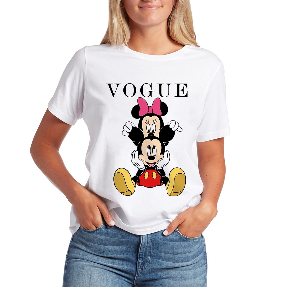 Women's Mickey Harajuku Vestidos Kawaii Clothes T Shirt Minnie Cute Style Korean Tshirt O Neck Short Sleeve Female Top Tee