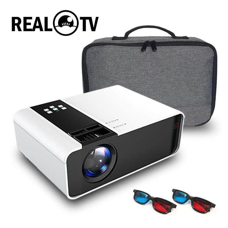 Real tv td90 hd mini projetor 720 p suporte 1080 p led android wi fi projetor vídeo cinema em casa hdmi vga av filme jogo proyector