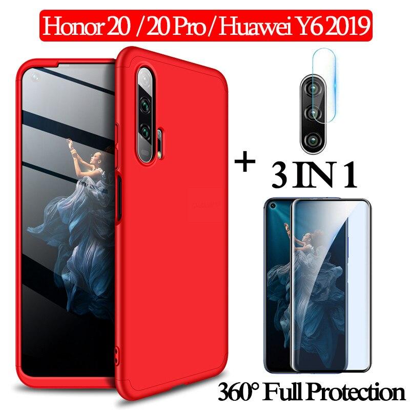 1-3 kits cristal templado + funda 360 Armor Huawei Honor 20 honor 20Pro funda de protección completa huawei y6 2019 carcasas dura de plástico carcasa honor20 funda honor 20 case glass